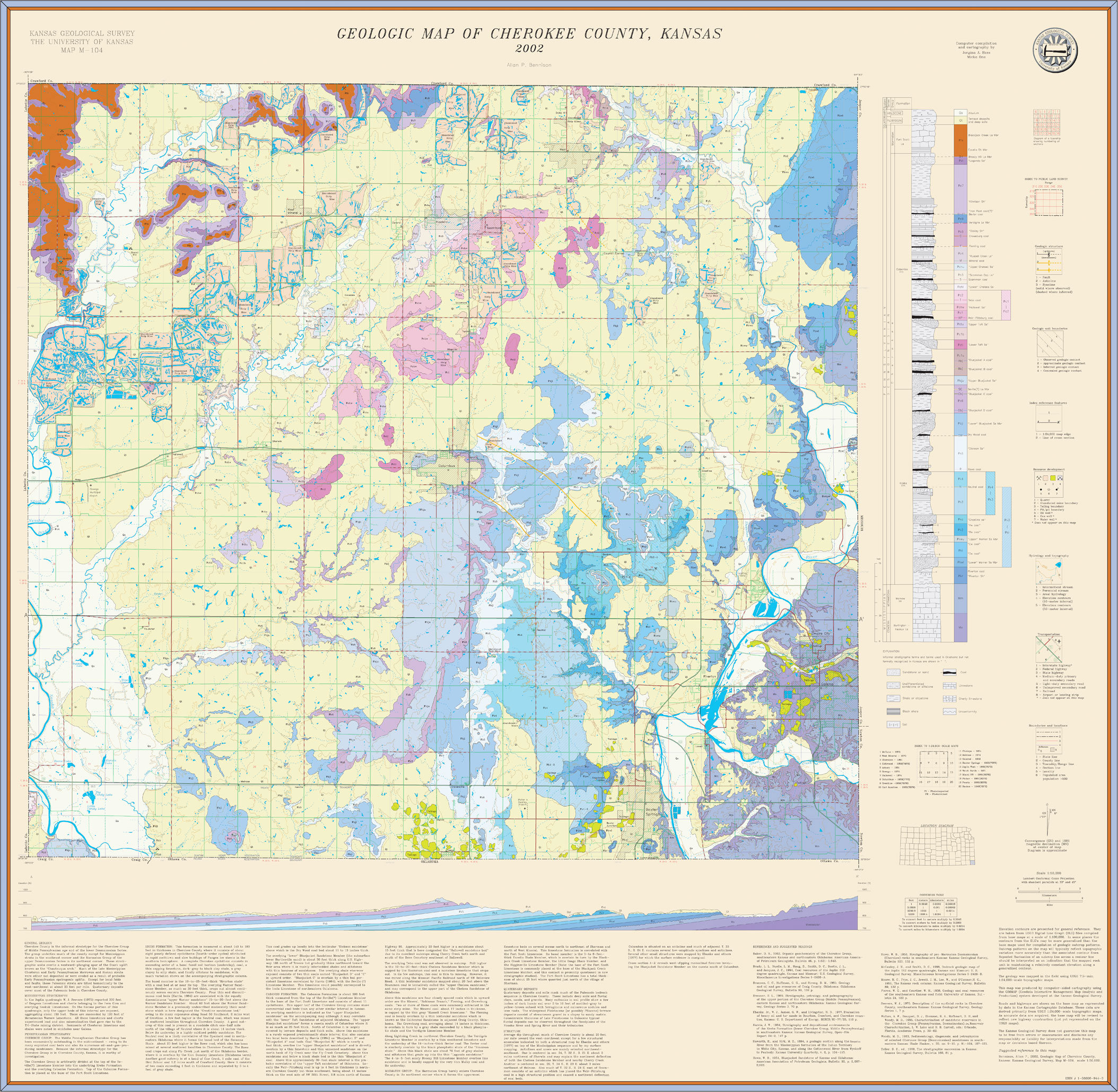 KGS--Geologic Map--Cherokee--Large size on census bureau maps, geological map for flint, topographic survey maps,