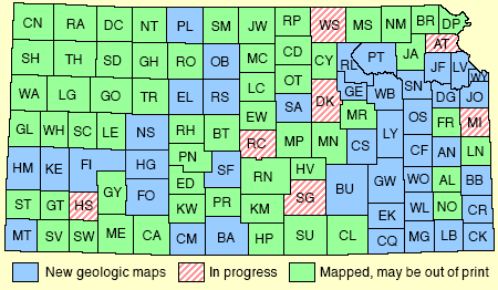 Map of Kansas showing county map status.  Text links below.