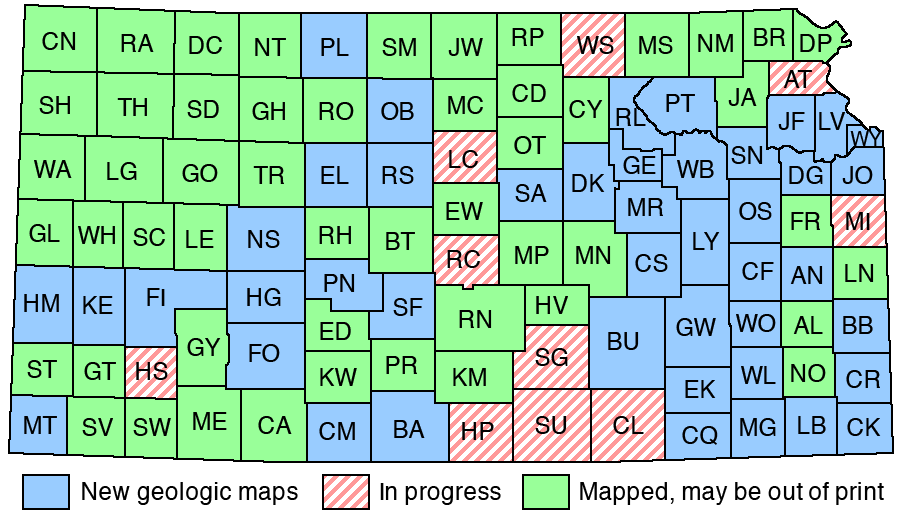 Kansas Map With Counties KGS  Geology Resources  Geologic Map Index