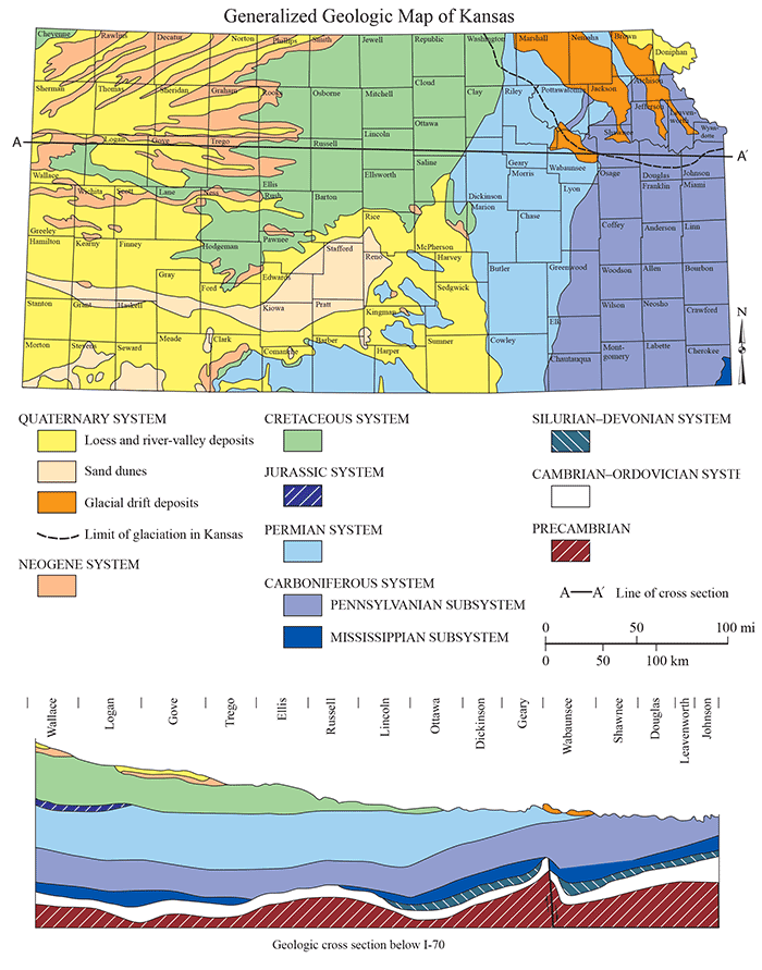 KGS--Geology--General Geologic Map on geographical map, nautical chart, physical map, treasure map, michigan geology map, gis map, topographical map, relief map, aeronautical chart, flow map, world map, our travels map, structural map, topological map, choropleth map, raised-relief map, new york state geologic map, pictorial maps, political map, us geology map, index map, economic map, climate map, thematic map, weather map, isopach map, william smith, geotechnical engineering, mineral map, vegetation map, land map, physiographic map, topographic map,