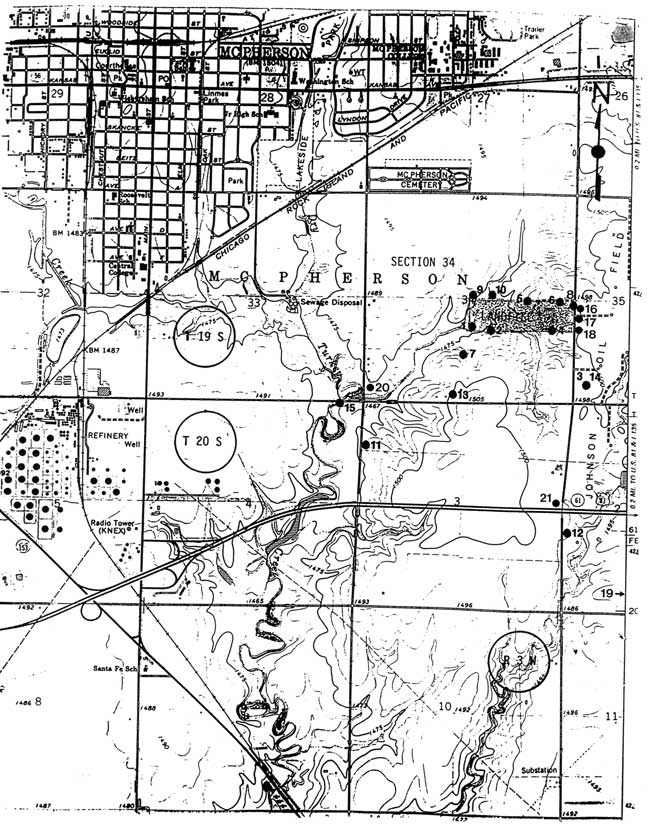kgs ofr 1997 78 sources of salinity surface and ground waters SW 10Mm most points around landfiill a mile southeast of mcpherson other points a mile or so