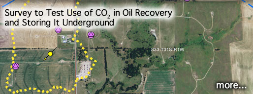 Link to story on CO2 injection project; image is part of map of study area.