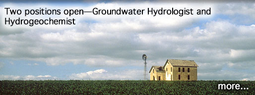 Two positions open--Groundwater Hydrologist and Hydrogeochemist; photo is of farm house, Phillips County