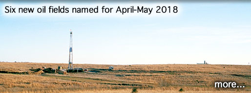 Six new oil fields named for April-May 2018; photo is of drill rig, Rice County