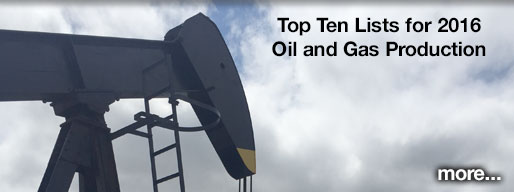 Top ten lists for 2016 Kansas oil and gas production.