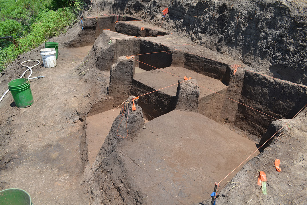 Photo of all of the rectangular excavation units.