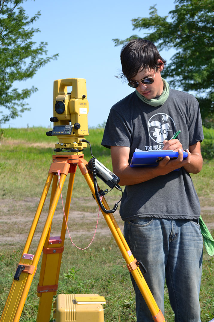 Total station (electronic theodolite with distance meter) used to precisely locate samples.