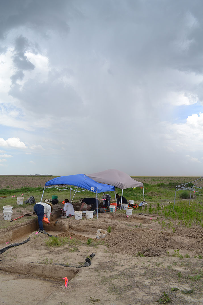 Scheuerman mammoth site with rain shaft in background of photo.