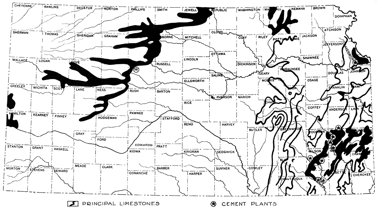 kgs underground resources of kansas Ford Taurus map showing cement plants and the distribution of principal limestones