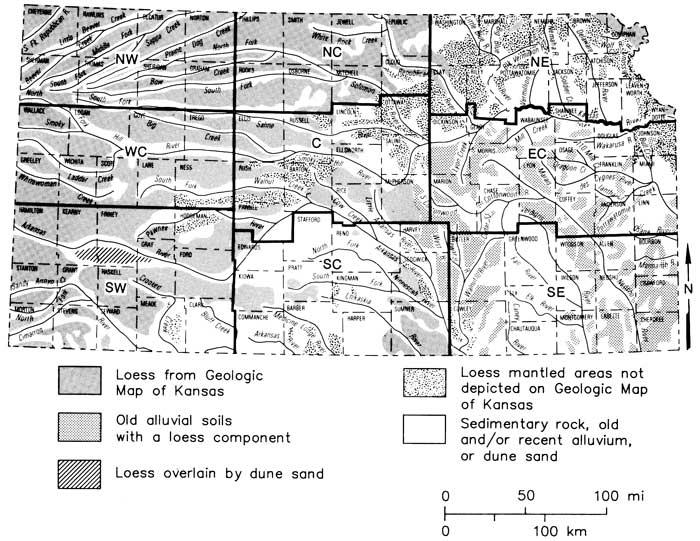 KGSGuidebook Pleistocene Loess In Kansas - Detailed map of kansas