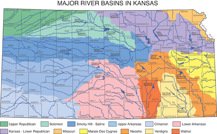 Major river basins in Kansas