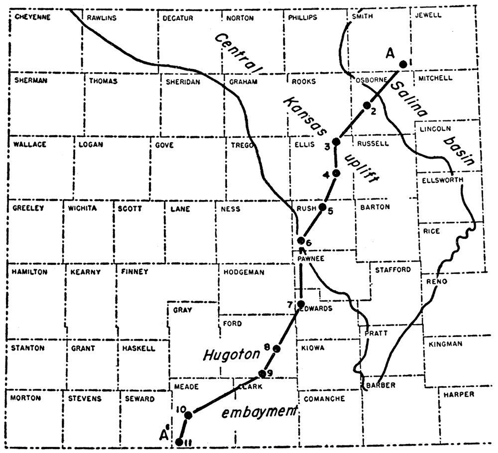 Map Of Central And Western Kansas Showing Principal Structural Features In Relation To Cross Section A
