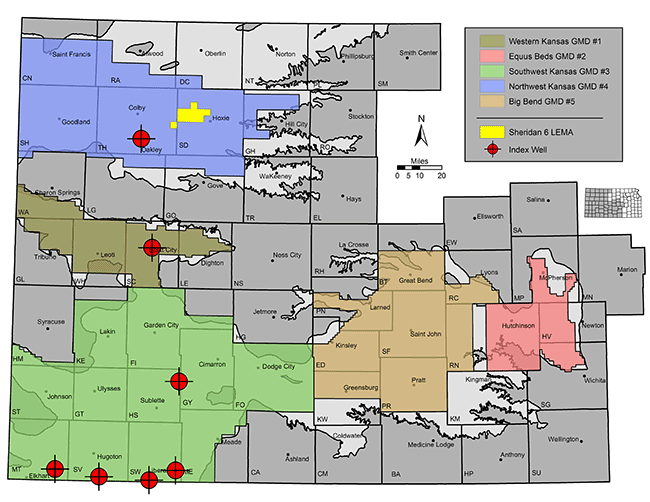 Map Of Kansas Shows Locations Of The Five Groundwater Management Districts Sheridan 6 Lema Is