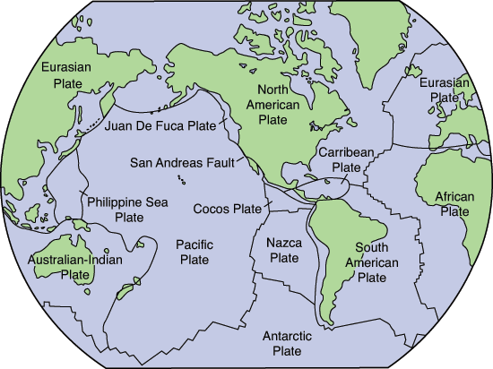 Map of the Earth showing plates.