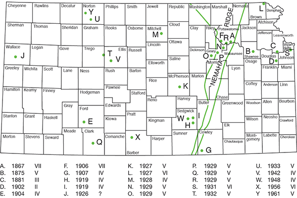 Historical earthquakes in Kansas, prior to 1977.